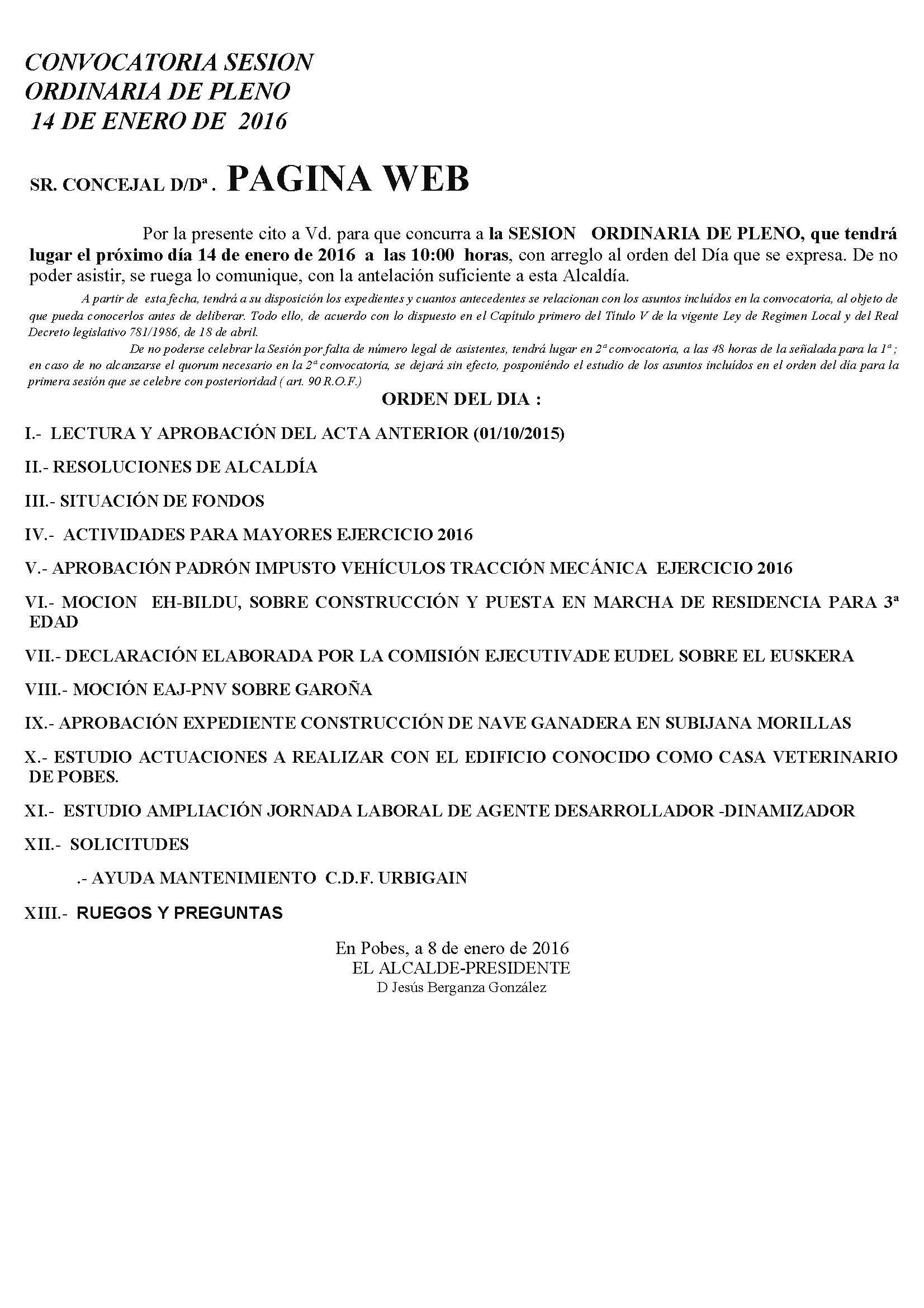 CONVOCATORIA SESIÓN ORDINARIA DE PLENO,  JUEVES 14 ENERO 2015