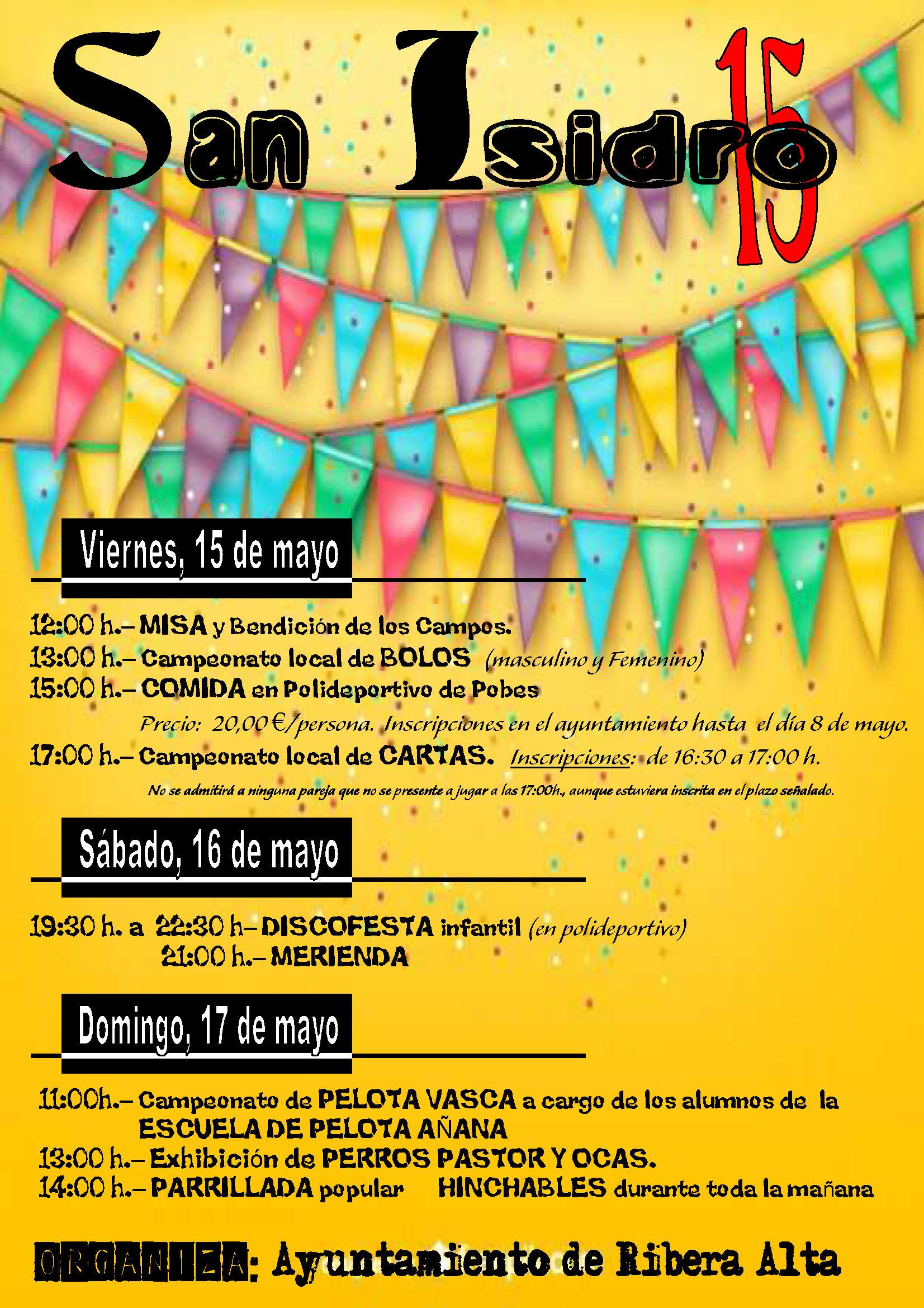 Fiestas patronales de San Isidro, del 15 al 17 de mayo 2015