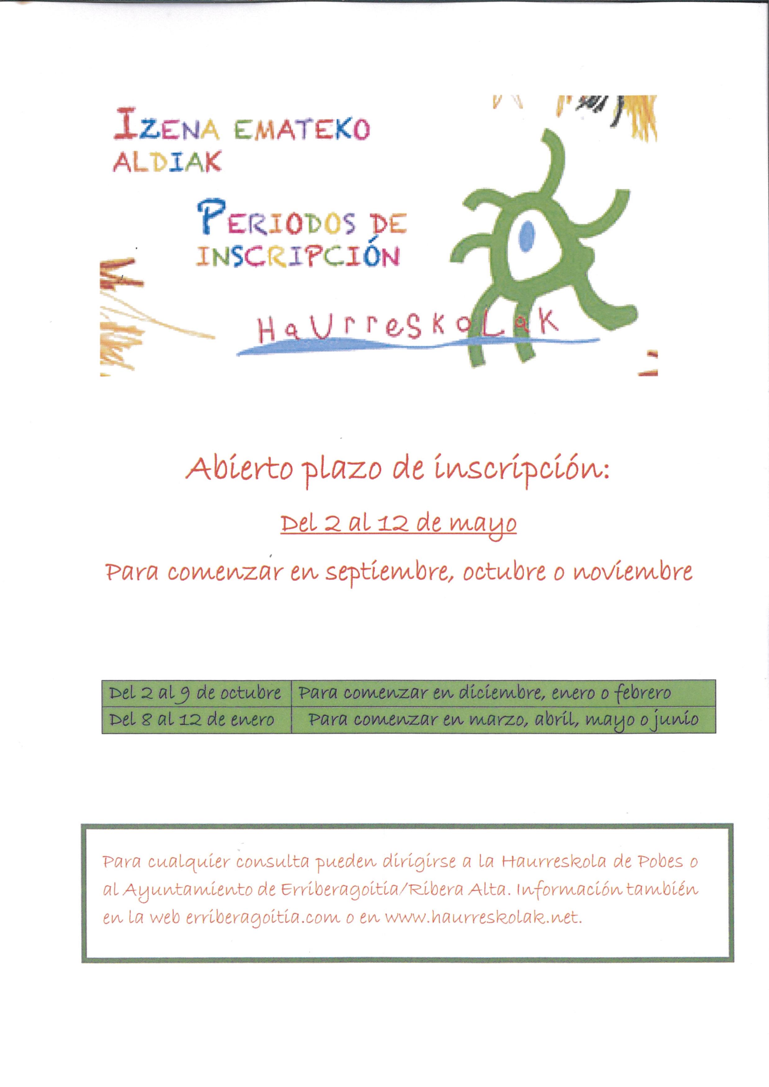 Del 2 al 12 de mayo se abrirá el plazo de inscripción en las haurreskolas del Consorcio Haurreskolak