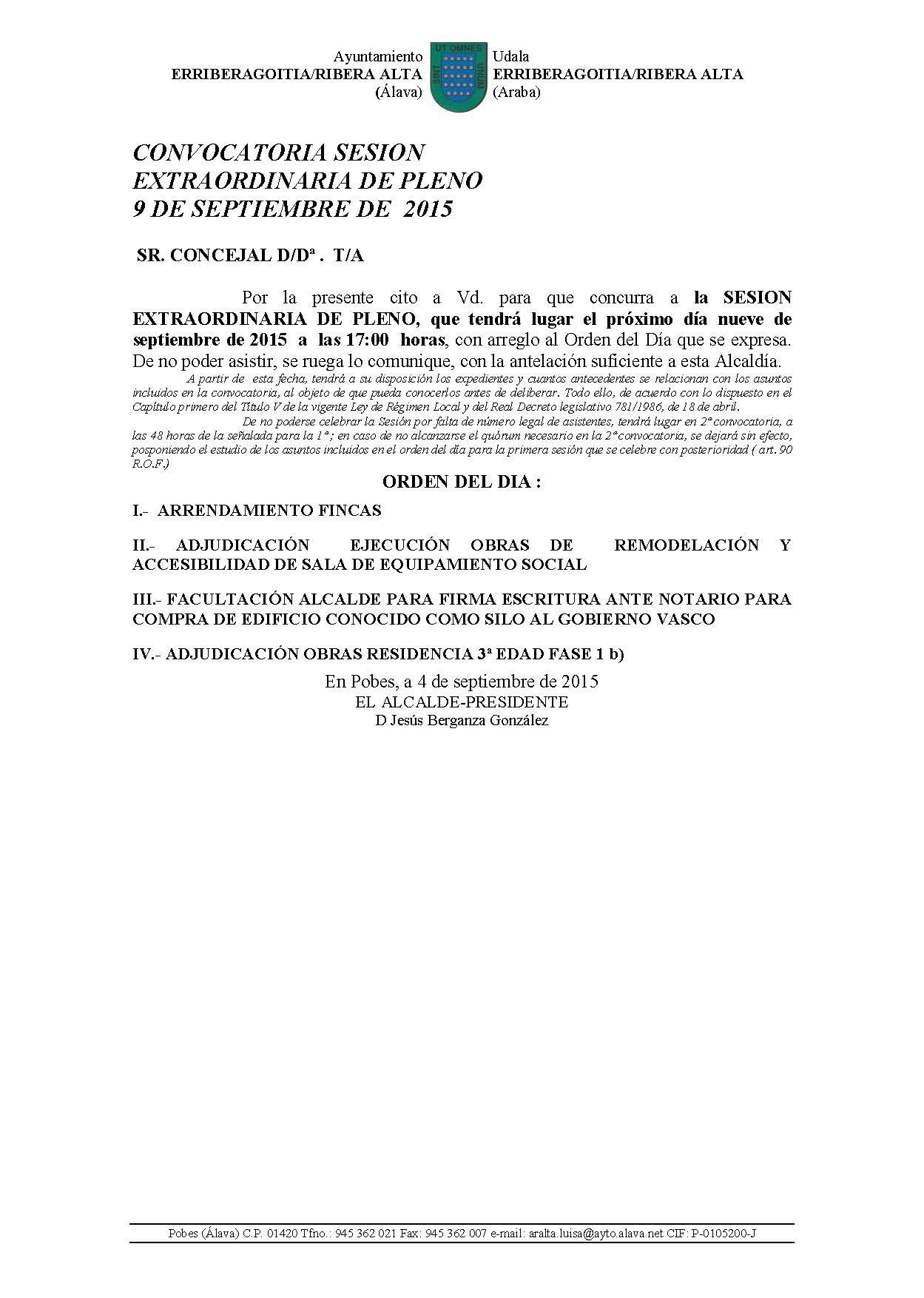 CONVOCATORIA SESIÓN EXTRAORDINARIA DE PLENO 9 DE SEPTIEMBRE DE 2015