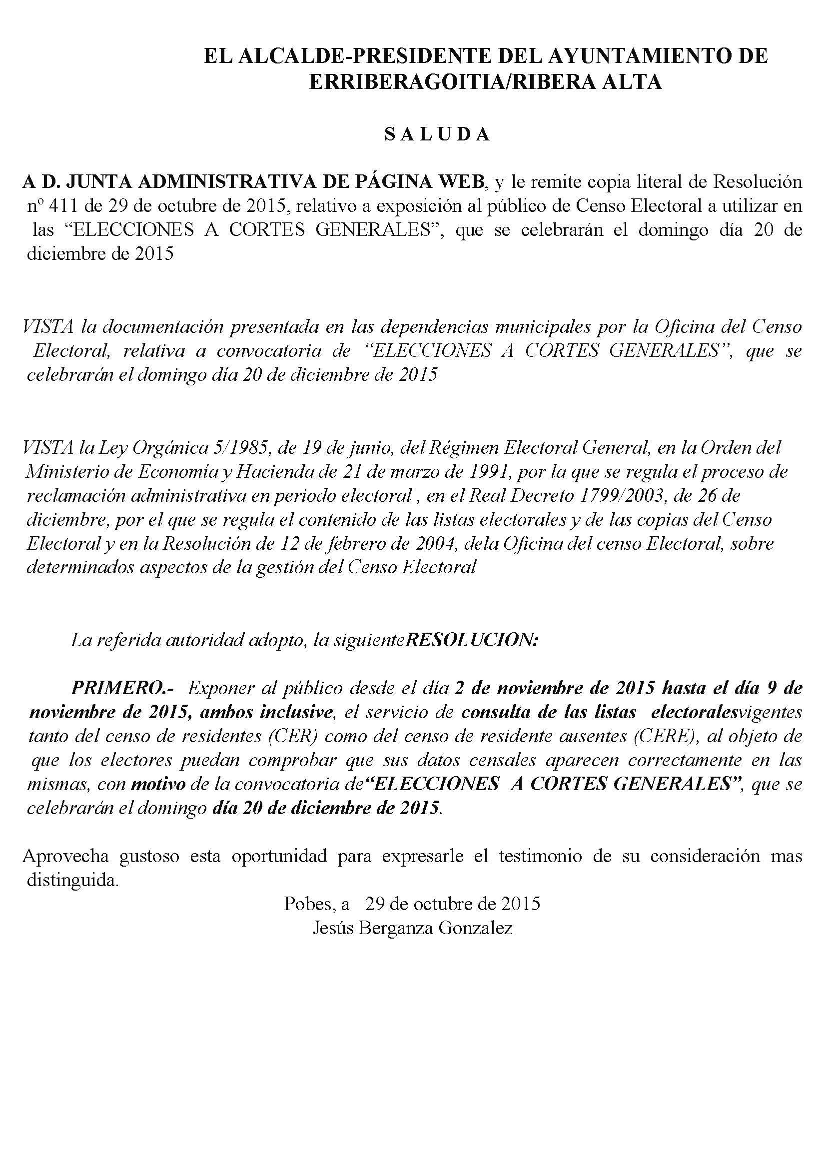 """Exposición al público de Censo Electoral a utilizar en las """"ELECCIONES A CORTES GENERALES"""""""