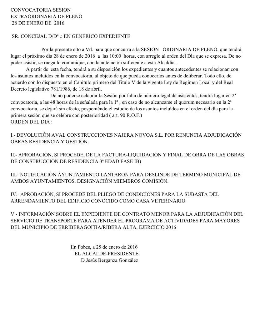 CONVOCATORIA SESIÓN  ORDINARIA DE PLENO, jueves 28 de enero 2016
