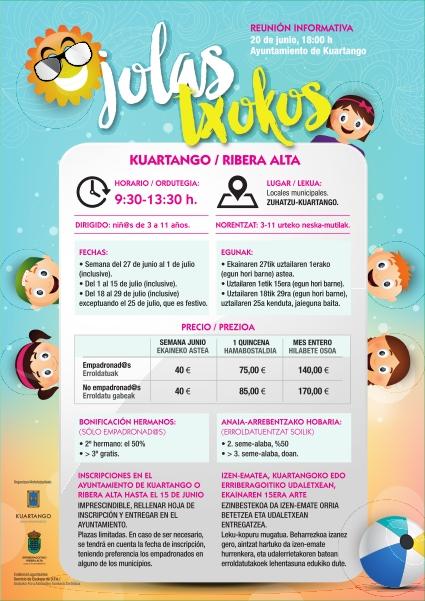 Inscripción para colonias de verano «Jolas Txokos» 2016