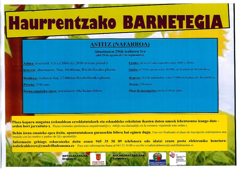 UMEENTZAKO BARNETEGIA / BARNETEGI INFANTIL organizado por la Cuadrilla de Añana