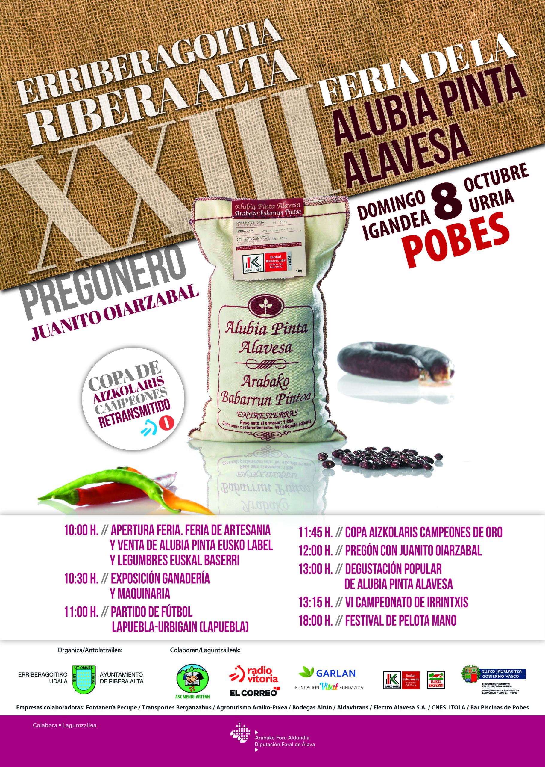 XXIII Feria de la Alubia Pinta Alavesa y legumbres de Álava (Pobes), domingo 8 octubre 2017