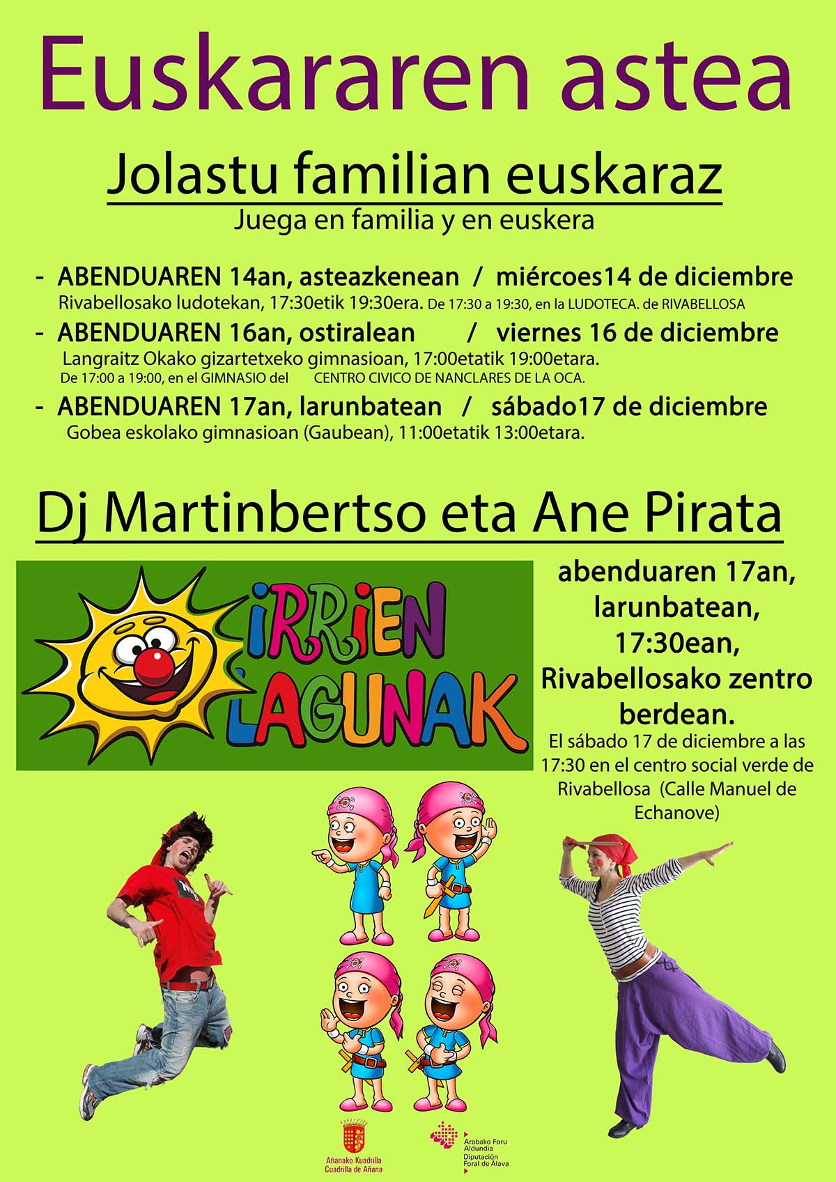 EUSKARAREN ASTEA, Jolastu familian euskaraz, La Cuadrilla de Añana organiza juegos en familia y en Euskera