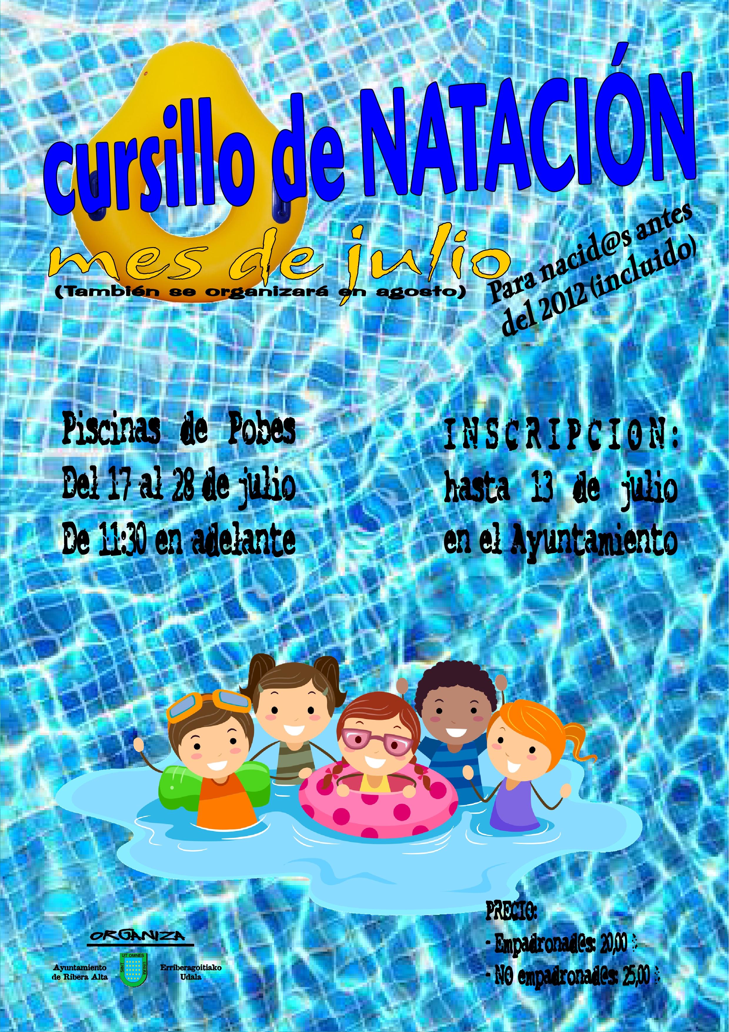 Cursillo de natación en las piscinas de Pobes, del 17 al 28 de julio 2017, inscribete