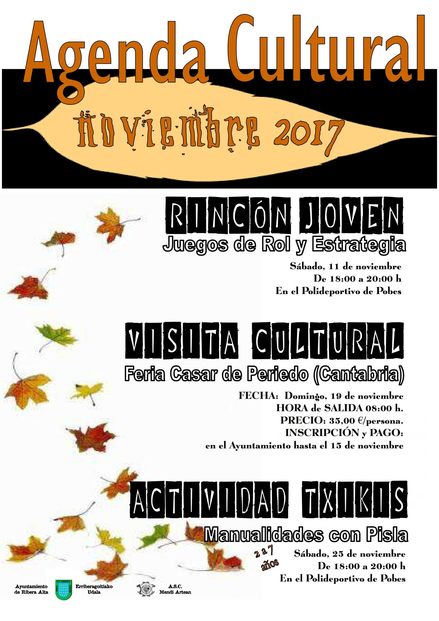 AGENDA CULTURAL NOVIEMBRE 2017