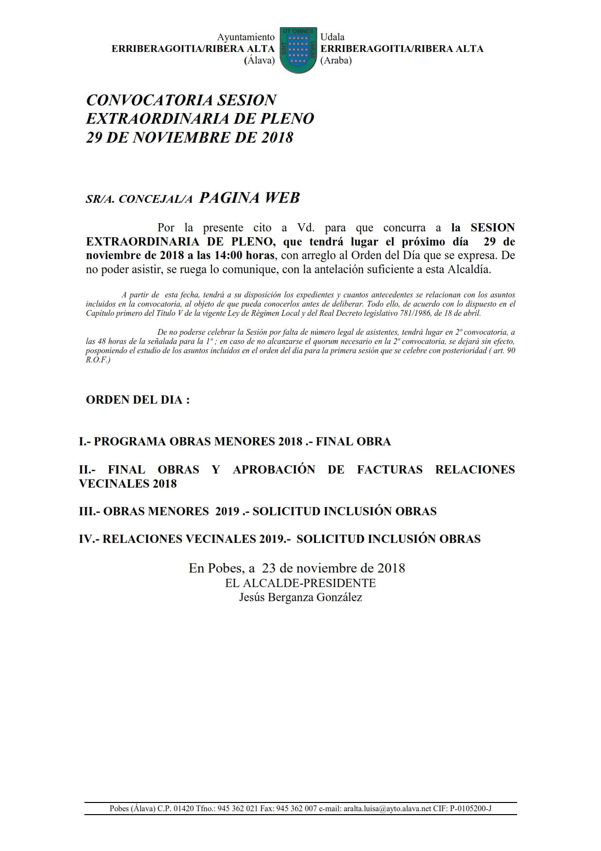 CONVOCATORIA SESIÓN EXTRAORDINARIA DE PLENO 29 DE NOVIEMBRE DE 2018