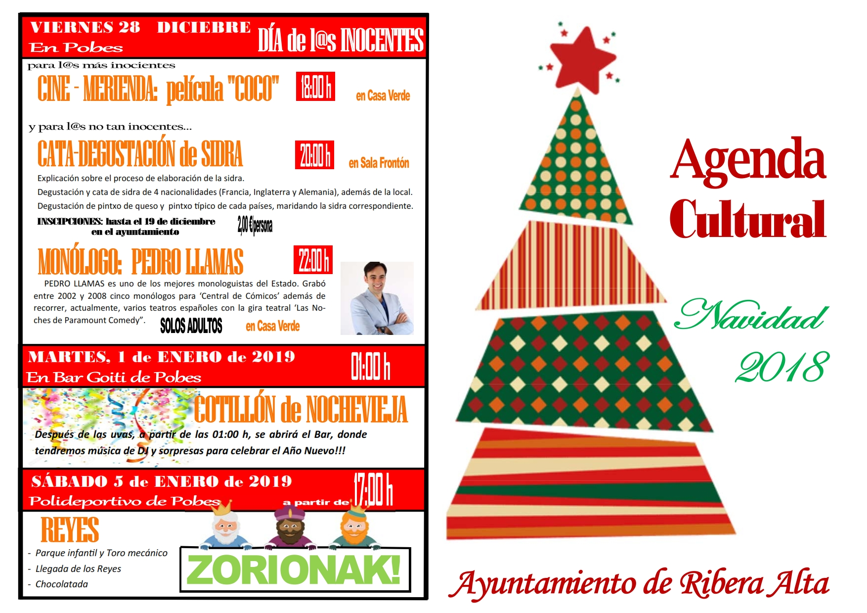 AGENDA CULTURAL, Programa de Navidad 2018 – 2019