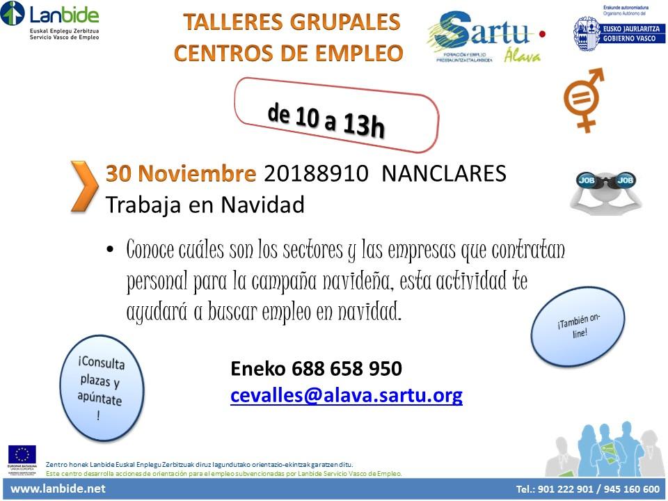 Talleres grupales «Centros de empleo» los día 23 y 30 de noviembre, en Nanclares de la Oca, !Consulta plazas y apúntate!
