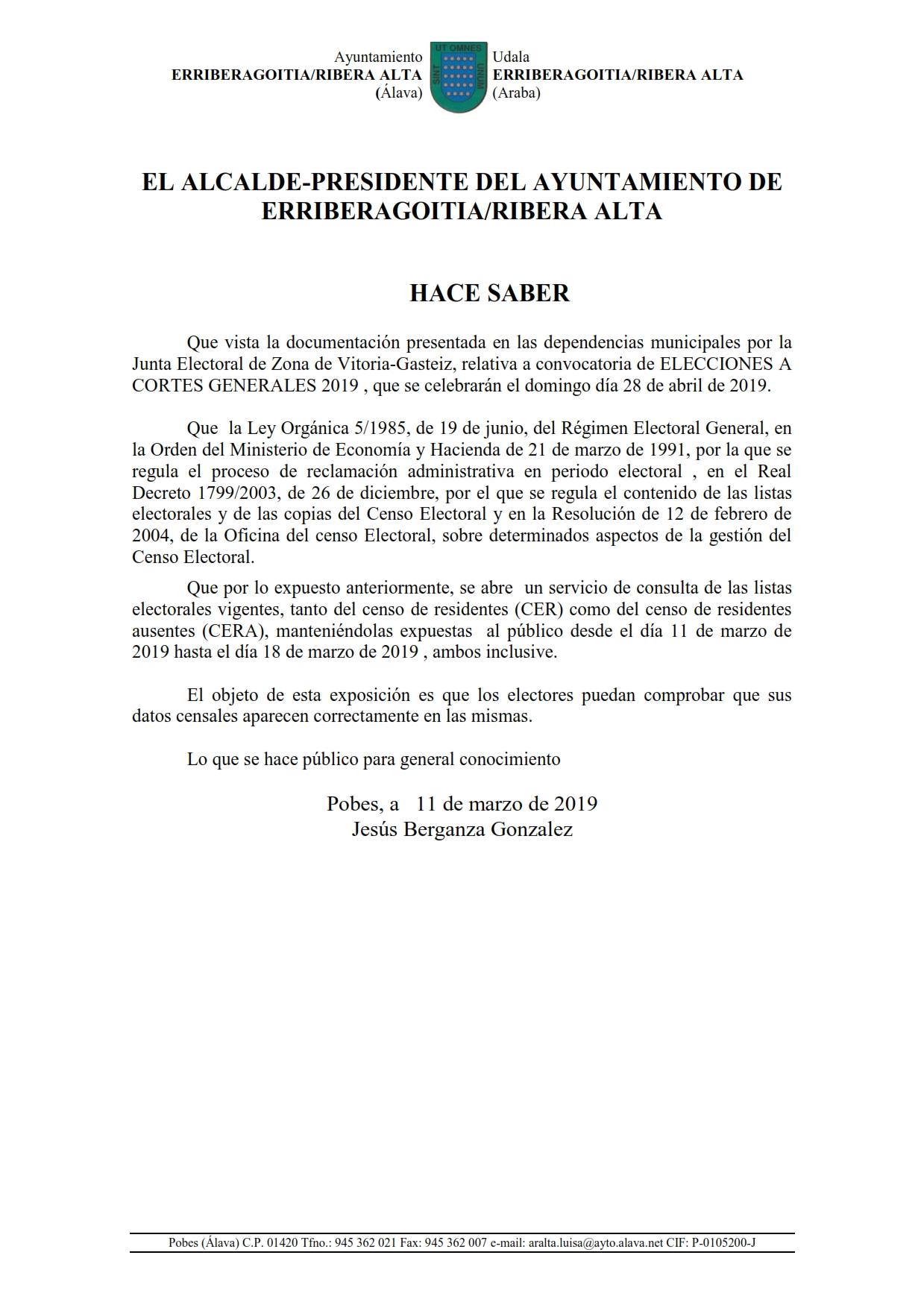 BANDO EXPOSICIÓN PUBLICO LISTAS DEL CENSO  PARA ELECCIONES A CORTES GENERALES 2019 A CELEBRAR EL DÍA 28 DE ABRIL