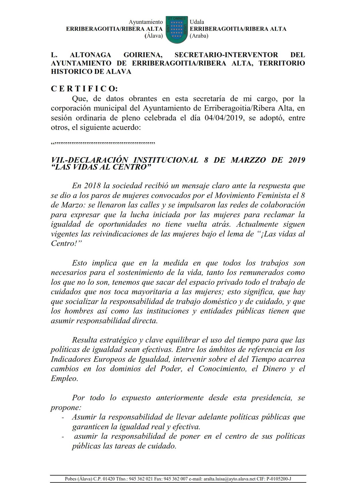 """VII.-DECLARACIÓN INSTITUCIONAL 8 DE MARZO DE 2019  """"LAS VIDAS AL CENTRO"""""""