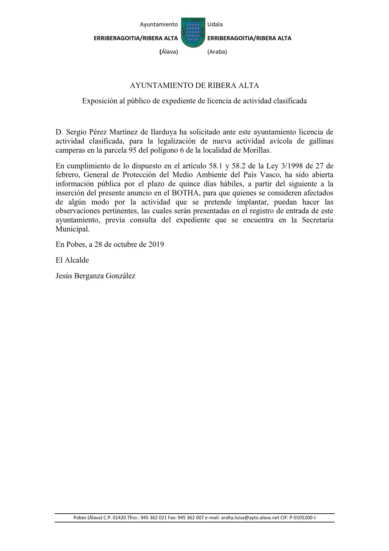 Anuncio de licencia de actividad  avícola en Morillas