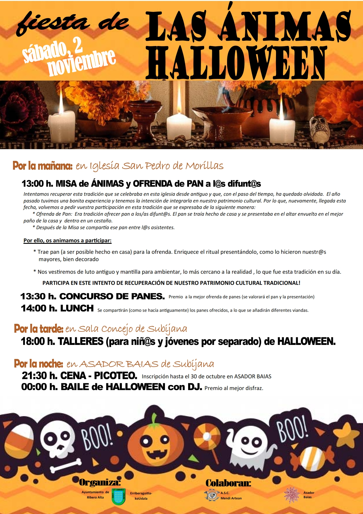Programa para celebrar el DÍA DE ÁNIMAS y HALLOWEEN, en el ayuntamiento de Ribera Alta, sábado 2 de noviembre 2019