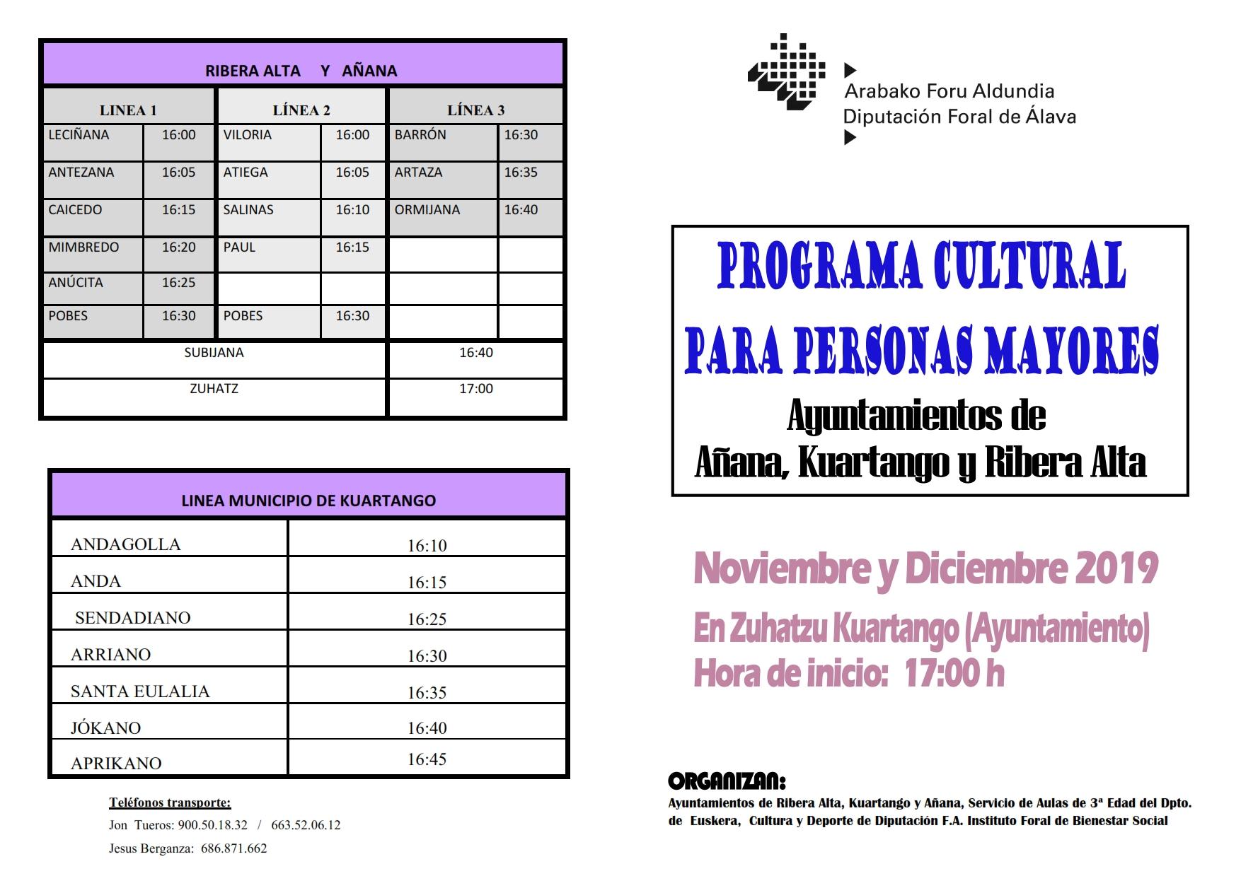 Programa de AULAS CULTURALES PARA PERSONAS MAYORES, NOVIEMBRE Y DICIEMBRE 2019, Ayuntamientos de Añana, Kuartango y Ribera Alta