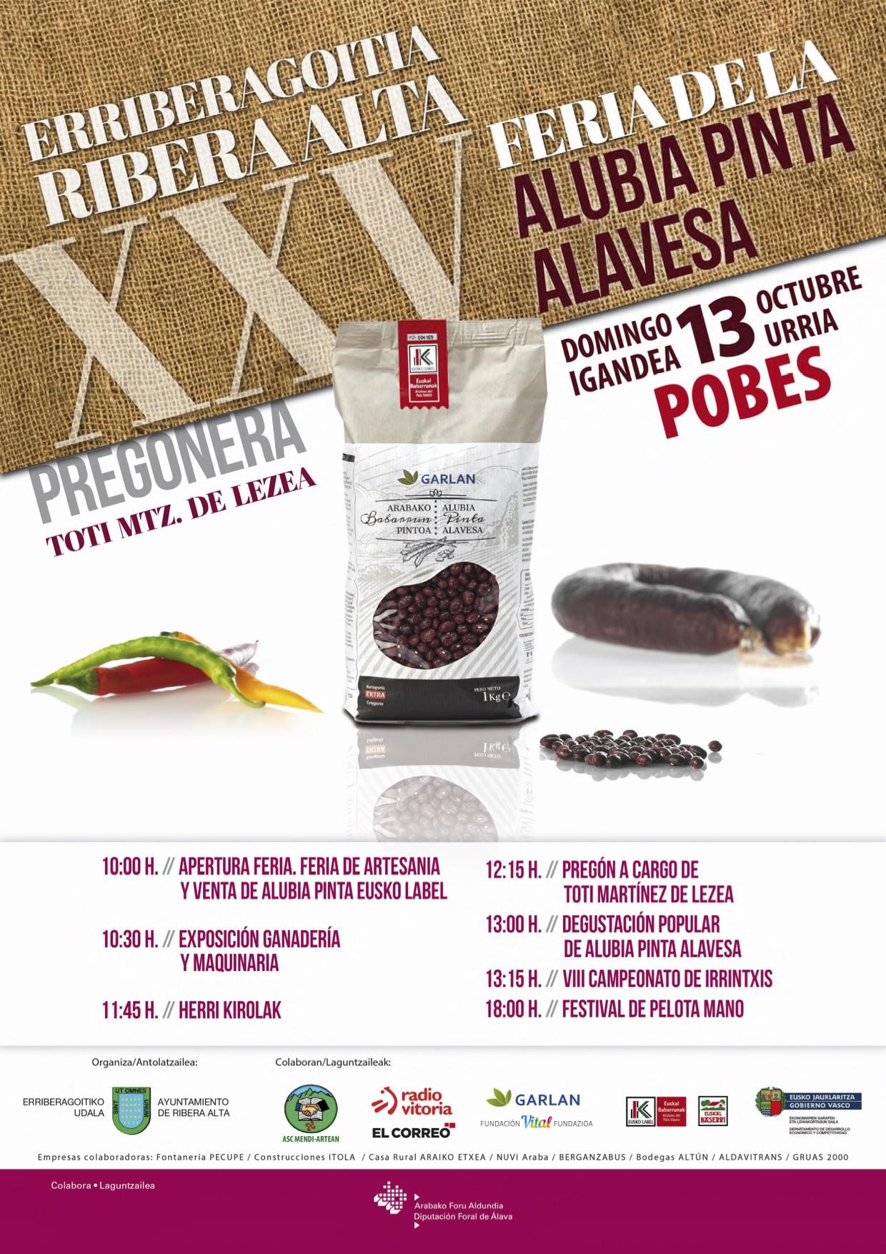 XXV Feria de la Alubia Pinta Alavesa en Pobes (13 de octubre)