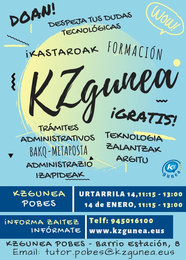 Formación tecnológica con KZGUNEA, martes14 de enero 2020